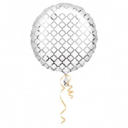 Folieballon quatrefoil zilver