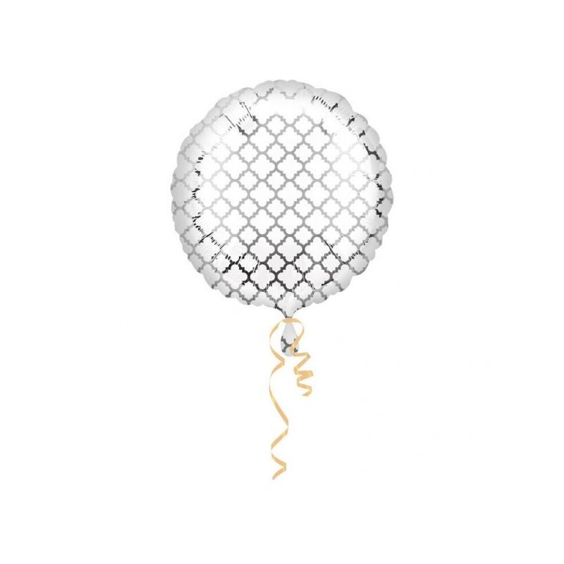 Foil balloon Quatrefoil white/silver
