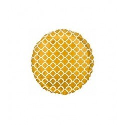 Foil Balloon Quatrefoil Gold/White