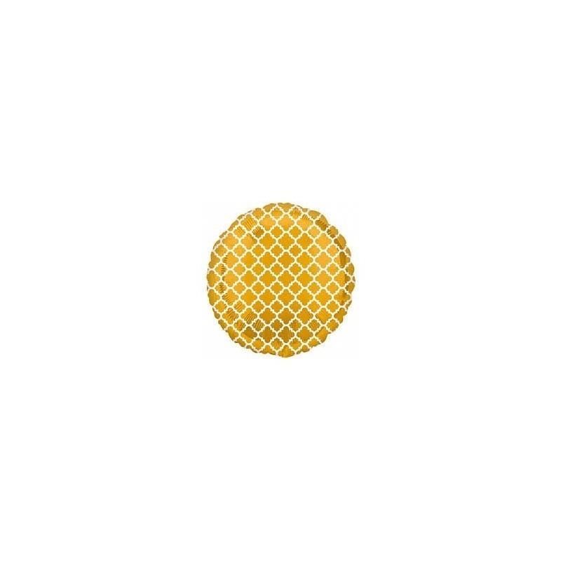Folieballon Quatrefoil Goud/Wit
