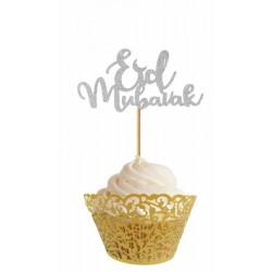 cupcaketopper Eid Mubarak - Silver (6 pcs)