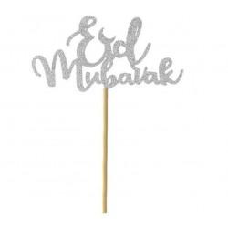 Cake topper Eid Mubarak - Silver (1 pcs)
