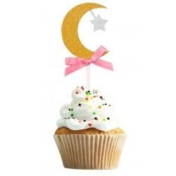 cupcaketopper Crescent gold/pink (6 pcs)