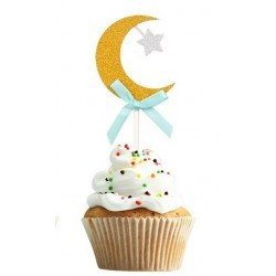 cupcaketopper Crescent gold/blue (6 pcs)