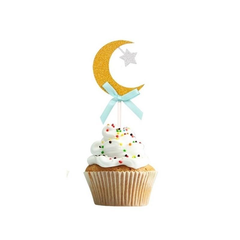 cupcaketopper Crescent gold/blue (6 pcs)