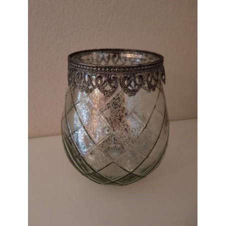 Windlicht 'Marakkech' - Groot (zilver)