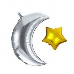 Moon/star balloon silver/gold