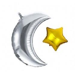 Folieballon Maan + ster zilver/goud