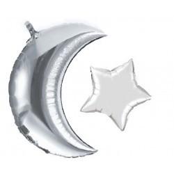 Folieballon Maan + Ster zilver