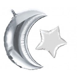 Moon/star balloon silver