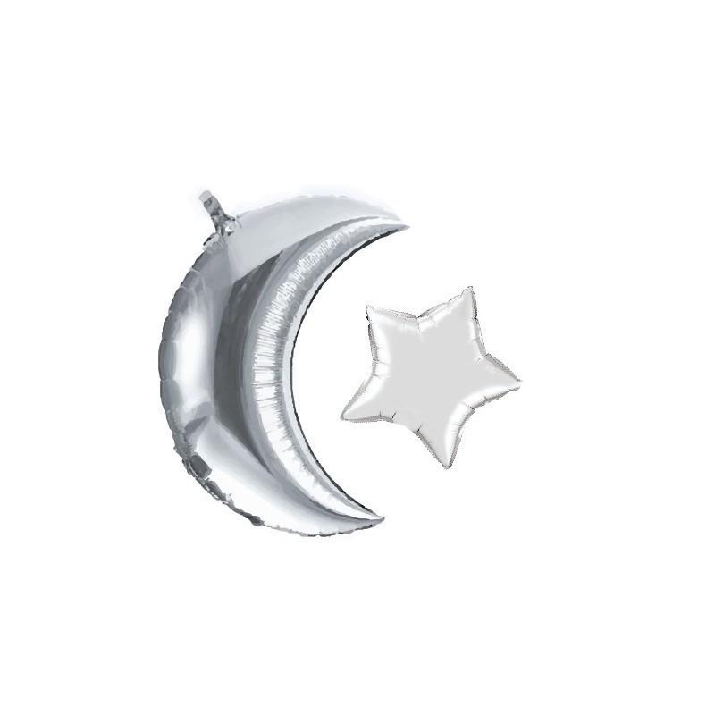 Ballon aluminium Moon + Star argent