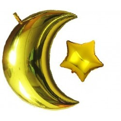 Foil balloon set Moon + star gold