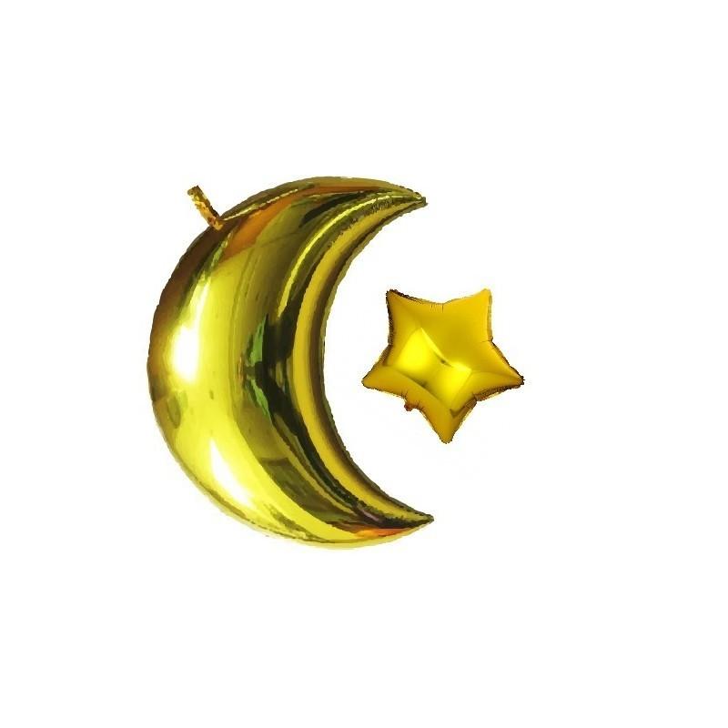 Foil balloon set Moon + star gold