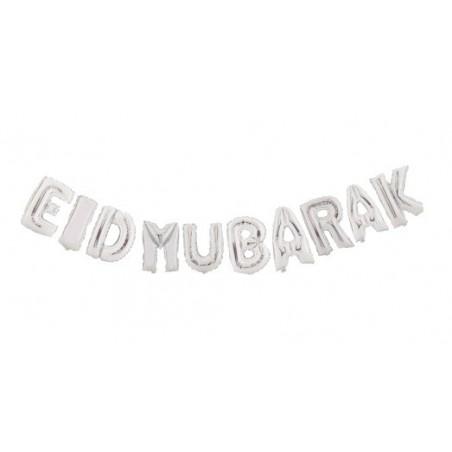 Eid mubarak ballon Zilver