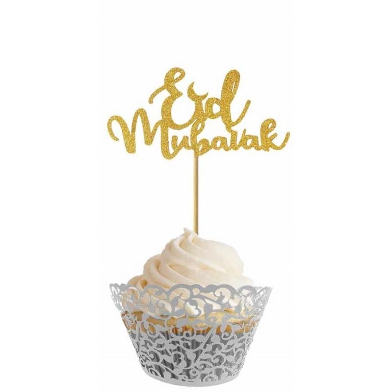 Cupcake prikker goud (6 stuks)
