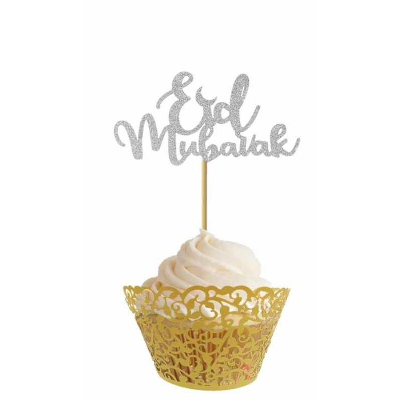 Cupcake toppers silver (10pcs)