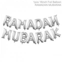 Ramadan Mubarak letters silver
