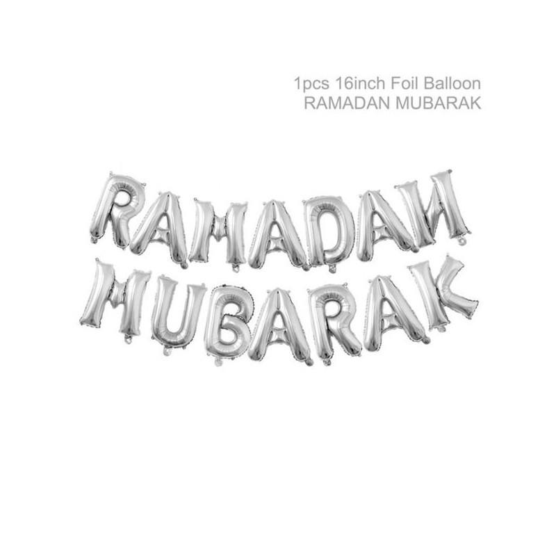 Ramadan Mubarak letters zilver