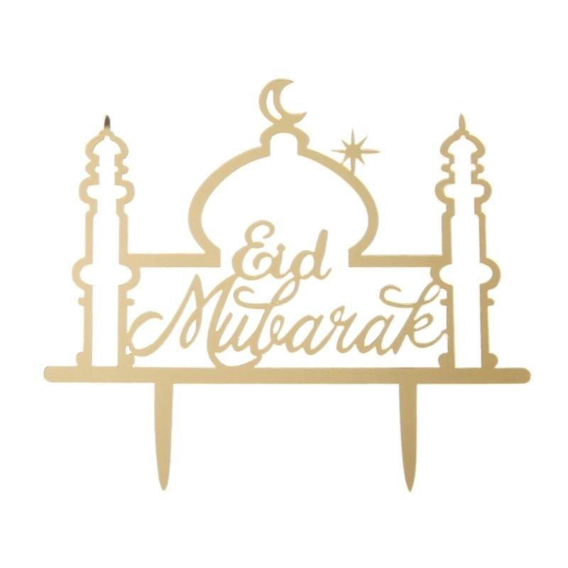 Taarttopper Eid Mubarak 'moskee' - Goud (1 stuks)