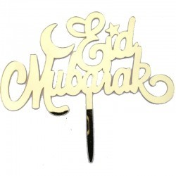 Cake topper Eid Mubarak 'Eid'- Gold (1 pcs)