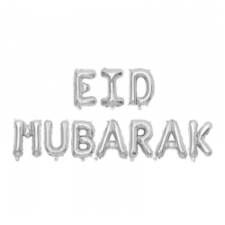 "Ballon aluminium ""Eid mubarak"" argent"