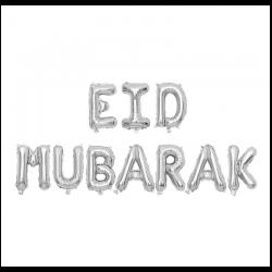 "Foil Balloon ""Eid mubarak""  Silver"