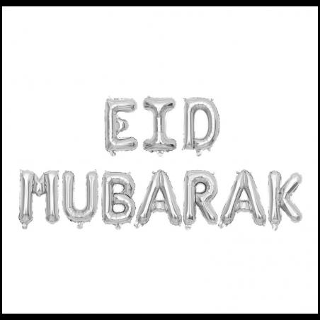 "Folieballon   ""Eid mubarak"" zilver"