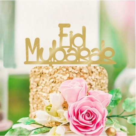 Cake topper Eid Mubarak - Gold (1 pcs)