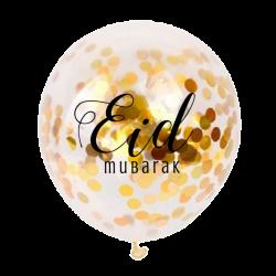 Ballons Eid Mubarak confettis or (5 pièces)