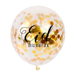 Luftballons Eid Mubarak Konfetti Gold (5 Stück)