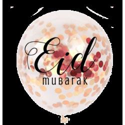 Ballons Eid Mubarak confettis or rose (5 pièces)