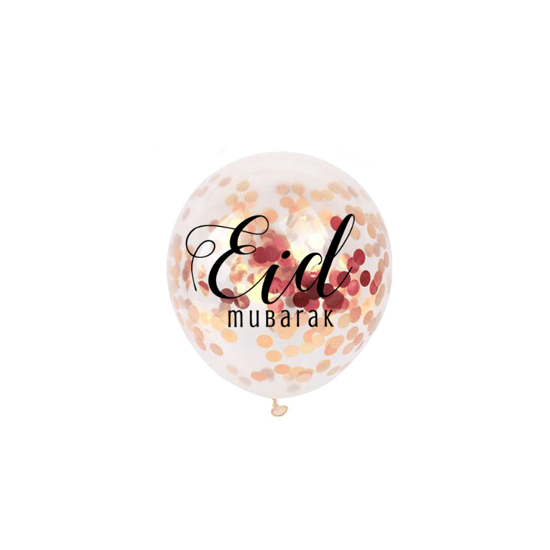Ballonnen Eid Mubarak confetti rose gold (5 stuks)