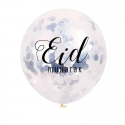 Ballons Eid Mubarak confettis argent (5 pièces)