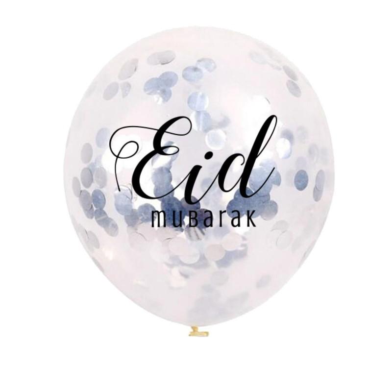 Ballonnen Eid Mubarak confetti zilver (5 stuks)