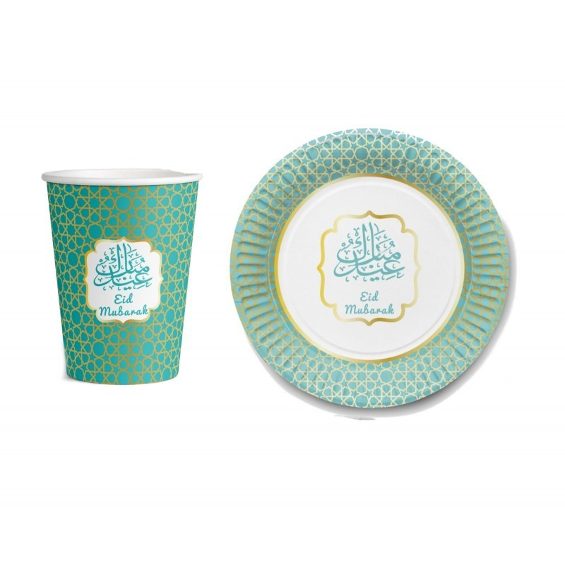 Dining set cup + plate (6 persons) (mint / gold)