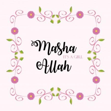 Carte de voeux Naissance Fille - Masha Allah une fille