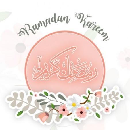 Carte de voeux Ramadan Kareem - Rose pastel