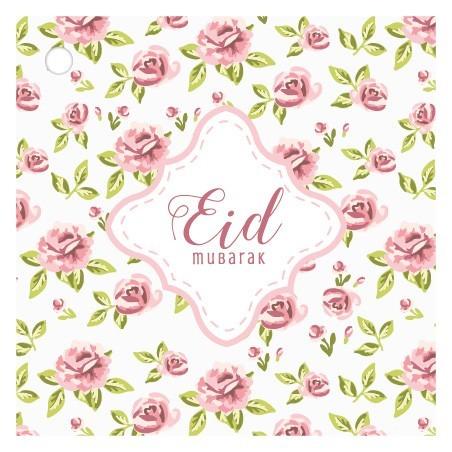 Etiquettes cadeaux Eid Mubarak - Vintage Rose (4 pcs)