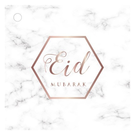 Geschenkanhänger Eid Mubarak - Marmor (4 Stück)