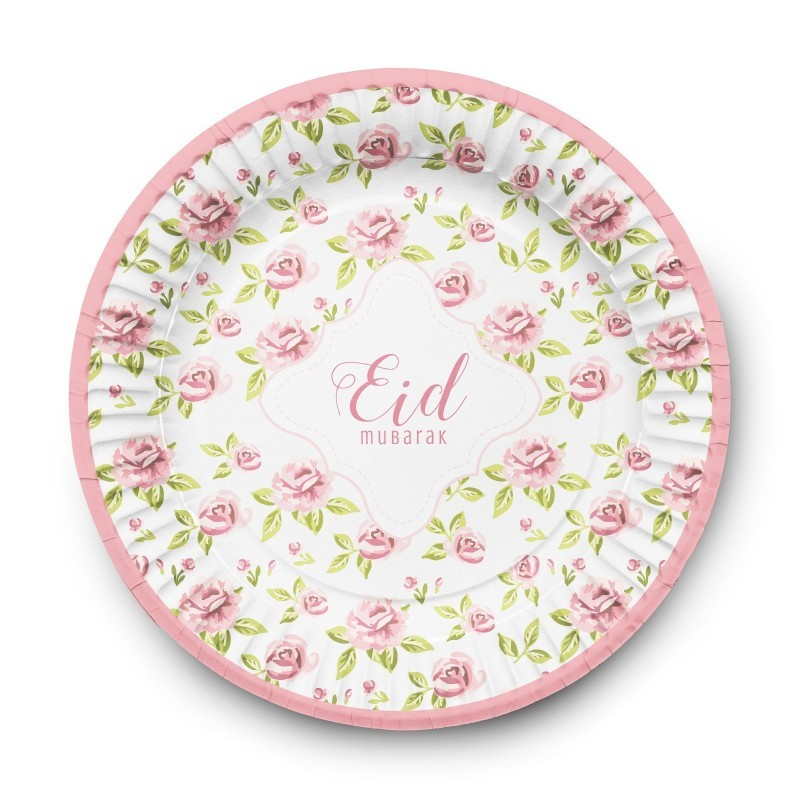 Plates Eid Mubarak vintage rose(6pk)