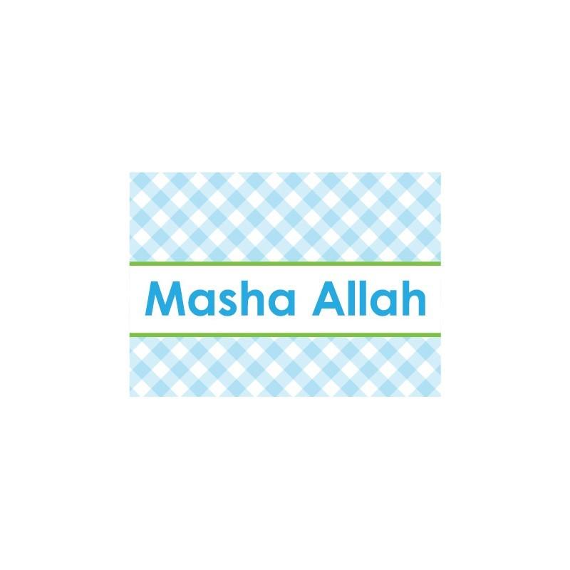 Wenskaart Geboorte Jongen - Masha Allah Ruitjes