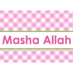 Greeting Card Baby Girl - Masha Allah Pink/Green
