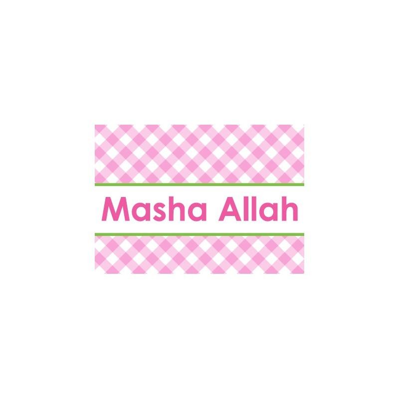Wenskaart Geboorte Meisje - Masha Allah Ruitjes