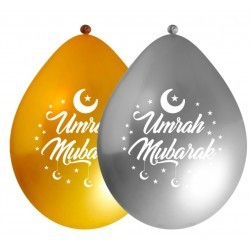 Luftballons Umrah Mubarak Metallic Gold / Silber (10 Stück)