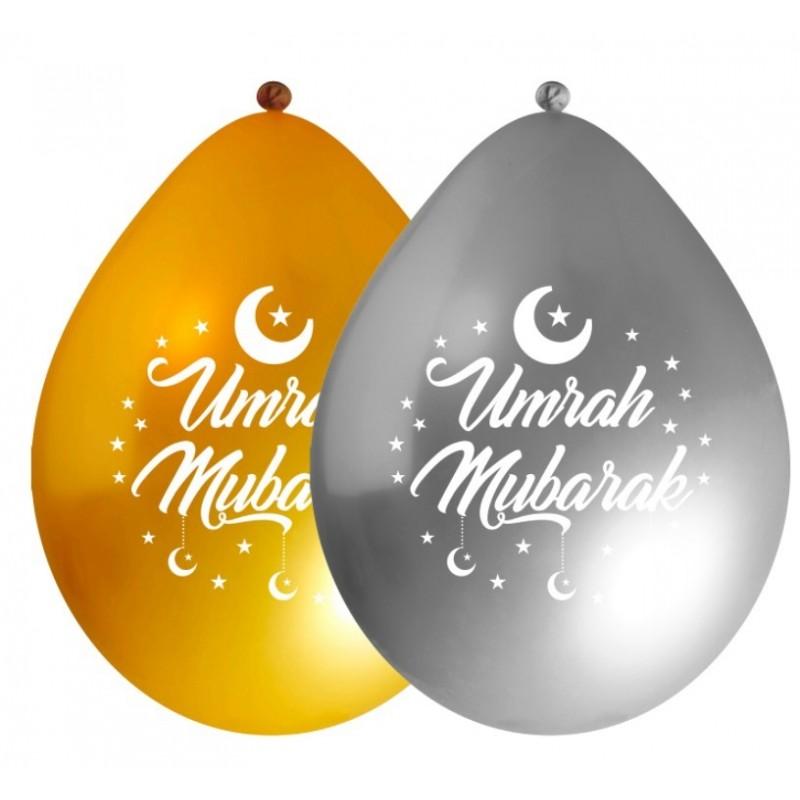 Ballonnen Umrah Mubarak metallic goud/zilver (10 stuks)