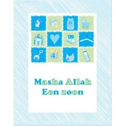 Wenskaart Geboorte Jongen - Masha Allah Collage