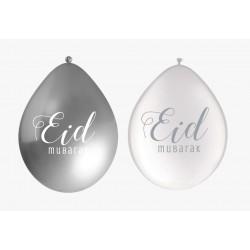 Balloon Eid Mubarak White/Silver (10pk)