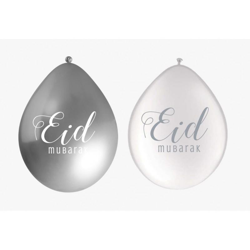 Ballonnen Eid Mubarak wit/zilver (10 stuks)