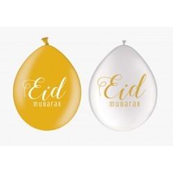 Ballonnen Eid Mubarak wit/goud (10 stuks)