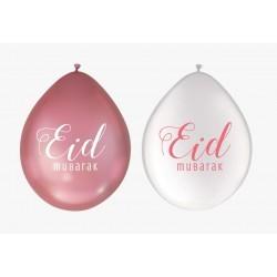 Ballonnen Eid Mubarak wit/roze (10 stuks)